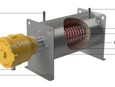 Цельнолитой электрический змеевиковый проточный нагреватель с промежуточным металлическим теплоносителем